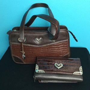 Zippered Purse Handbag Bag Tote Wallet Brown EUC